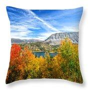 Rock Creek Lake Fall Panorama Throw Pillow