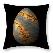 Rock Egg With Warm Yellow Lines Throw Pillow