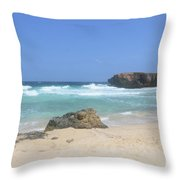 Rock Formation On Boca Keto On The Island Of Aruba Throw Pillow
