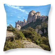 Rock Formations Montserrat Spain II Throw Pillow