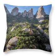 Rock Formations Montserrat Spain Throw Pillow