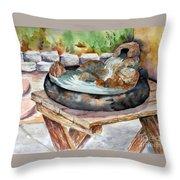 Rock Fountain Throw Pillow