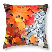 Rock Garden Autumn Leaves Throw Pillow