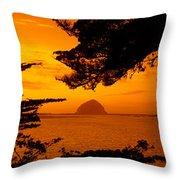 Rock In A Lake At Dusk, Morro Rock Throw Pillow