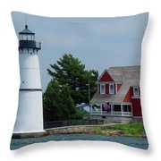 Rock Island Lighthouse July Throw Pillow