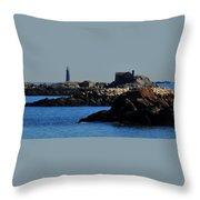 Rock Islands And Minots Light Throw Pillow