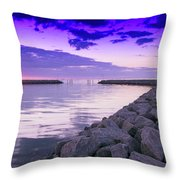 Rock Jetty Sunrise Throw Pillow