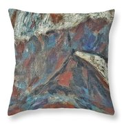 Rock Landscape Abstract  Fall Waves And Forests Swirling In The Background In Red Blue Orang Throw Pillow