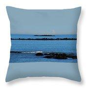 Rock Ledges And Calm Seas Throw Pillow