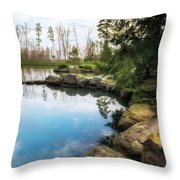 Rock Lined Pond Throw Pillow