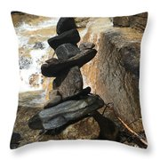 Rock Monument At Jones Gap Falls II Throw Pillow