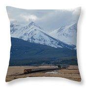 Rock Mountain Front- Train Throw Pillow