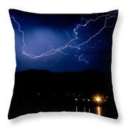 Rock Mountains Foot Hills Lightning Storm Throw Pillow