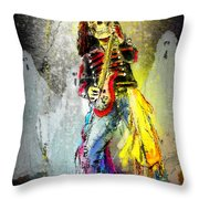 Rock N Roll The Bones Throw Pillow
