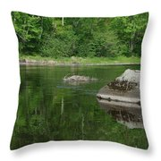 Rock Reflection In The River Throw Pillow