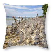 Rock Structures On Lake Michigan Throw Pillow