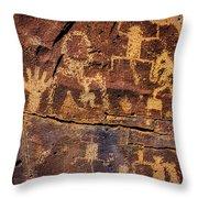 Rock Wall Of Petroglyphs Throw Pillow