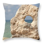 Rock With A Hole With A Tropical Ocean In The Background. Throw Pillow