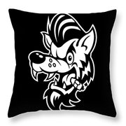 Rockabilly Wolf Head Throw Pillow