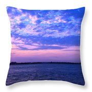 Rockaway Point Dock Sunset Violet Orange Throw Pillow
