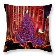 Rockefeller Center Christmas Tree Throw Pillow