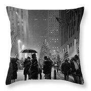 Rockefeller Center Christmas Tree Black And White Throw Pillow
