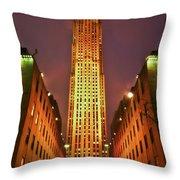 Rockefeller Center Throw Pillow by Evelina Kremsdorf