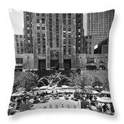 Rockefeller Center Plaza Throw Pillow