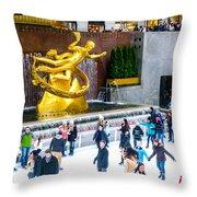Rockefeller Center Skating Rink New York City Throw Pillow