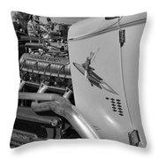 Rocket Girl Black And White Throw Pillow