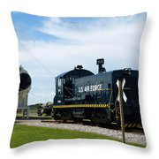 Rocket Locomotive At Cape Canaveral In Florida Throw Pillow