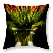 Rocket Propelled Tulips Throw Pillow