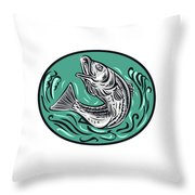 Rockfish Jumping Color Oval Drawing Throw Pillow