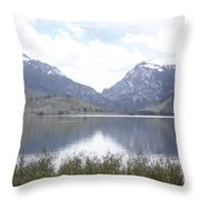 Rockies Over The Lake Throw Pillow