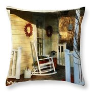 Rocking Chair On Side Porch Throw Pillow