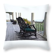 Rocking Chairs On The Porch Throw Pillow