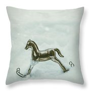 Rocking Horse In Snow Throw Pillow