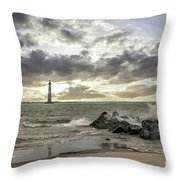 Rocking The Atlantic Ocean Throw Pillow