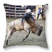 Rocking The Bull Throw Pillow