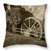 Rockland Grist Mill - Sepia Throw Pillow