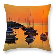 Rockport Ma Boats Rockport Harbor Throw Pillow