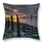 Rocks And Bridge Throw Pillow