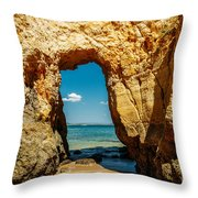 Rocks And Ocean Landscape In Lagos, Wall Art Print, Landscape Art, Poster Decor, Printable Photo Throw Pillow