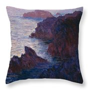 Rocks At Bell Ile Throw Pillow