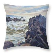 Rocks At Widemouth Bay, Cornwall Throw Pillow