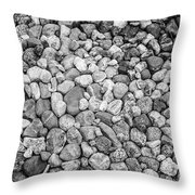 Rocks From Beaches In Black And White Throw Pillow