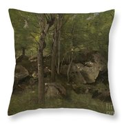 Rocks In The Forest Of Fontainebleau Throw Pillow