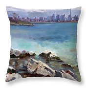 Rocks N' The City Throw Pillow