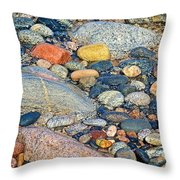 Rocks Of Many Colors On Lake Superior Shoreline In Pictured Rocks National  Throw Pillow