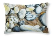 Rocks On Beach Throw Pillow